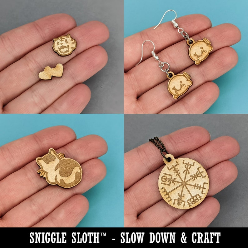 Cancer Horoscope Astrological Zodiac Sign Mini Wood Shape Charms Jewelry DIY Craft
