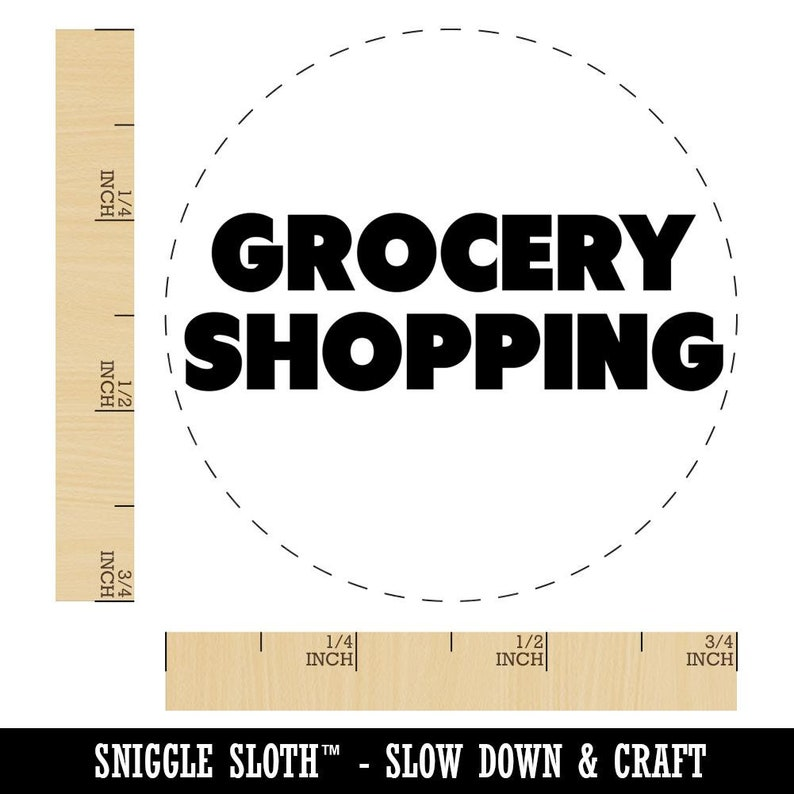 Grocery Shopping Bold Text Rubber Stamp for Stamping Crafting Planners