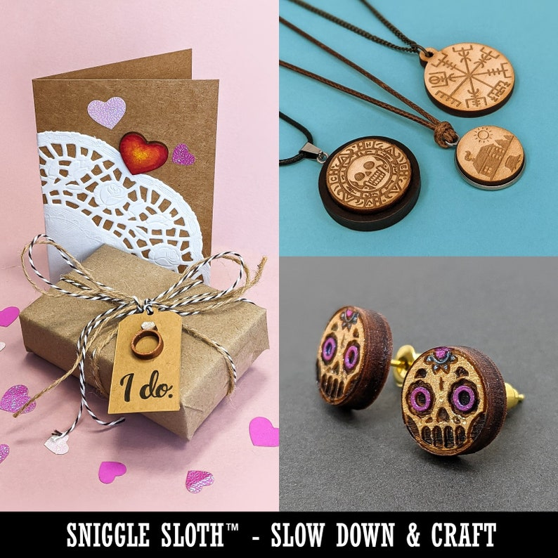 Kawaii Jellyfish Mini Wood Shape Charms Jewelry DIY Craft