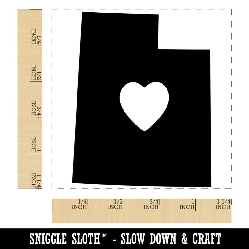 Utah State with Heart Square Rubber Stamp for Stamping Crafting