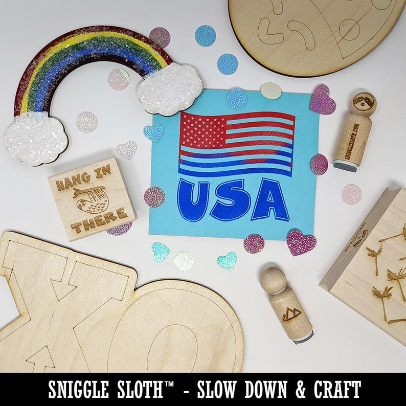 Idaho State Flag Square Rubber Stamp for Stamping Crafting