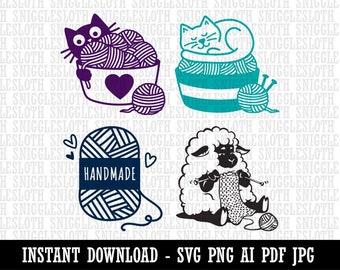 Knitting Sheep Cats Handmade Knit Yarn Clipart Instant Digital Download AI PDF SVG png jpg Files for Commercial Use