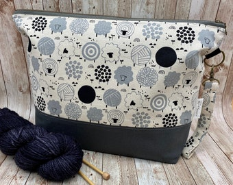 Large zipper project bag with handles Knitting tote bag Sweater size bag Knitters crocheters and makers gift