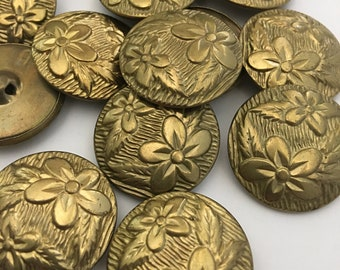 3 2 match assorted designs waistcoat buttons  Collector molded metal floral feb 387 19 Vintage Buttons and grape cluster Victorian