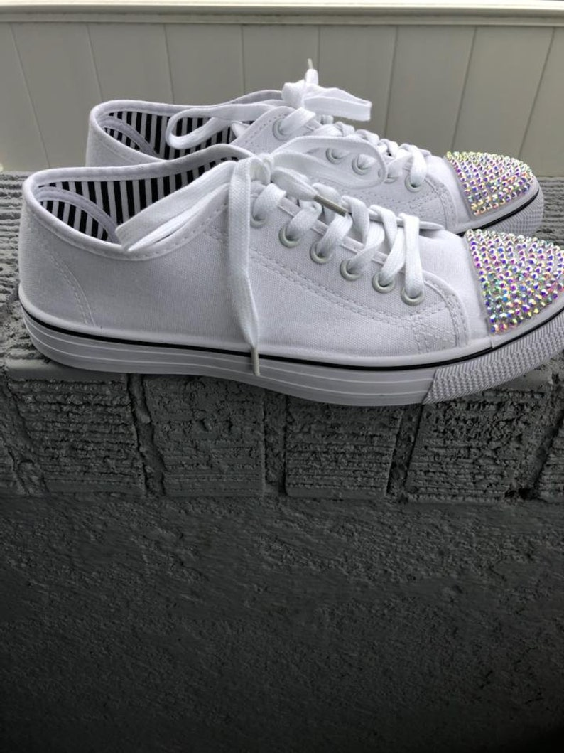 Donne Bianco Tela Fashion Sneaker con Bling xPj26ngb