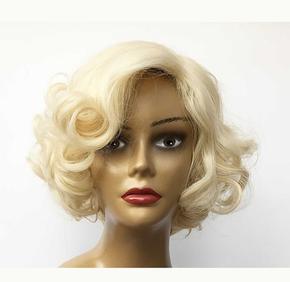 50s Style Blonde Marilyn Monroe Fashion Curly Wig Cosplay Hair Full Women Wigs Hot Style Short