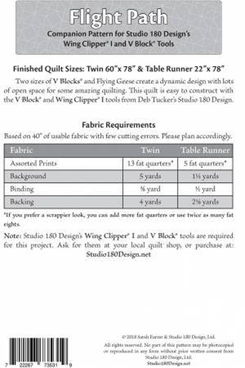 Flight Path quilt pattern table runner and twin quilt sizes Modern 180 companion pattern