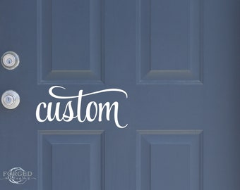 Personalised Fancy Door Name Sticker 21 colours to choose from