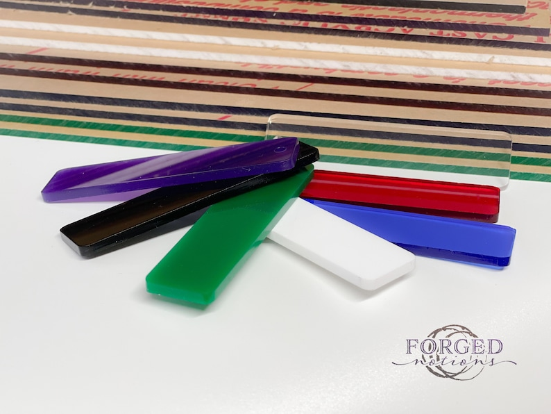 Lavender Black Blue Acrylic Bundle of 19 Sample Sheets Nominally Cut at 12 x 9.5 inches Colors Include 7 clear and 2 of Red Green White