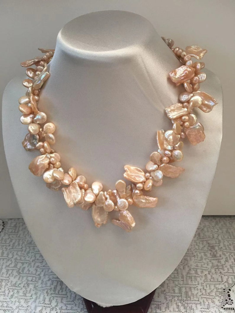 Keshi /& Coin Freshwater Pearl Necklace