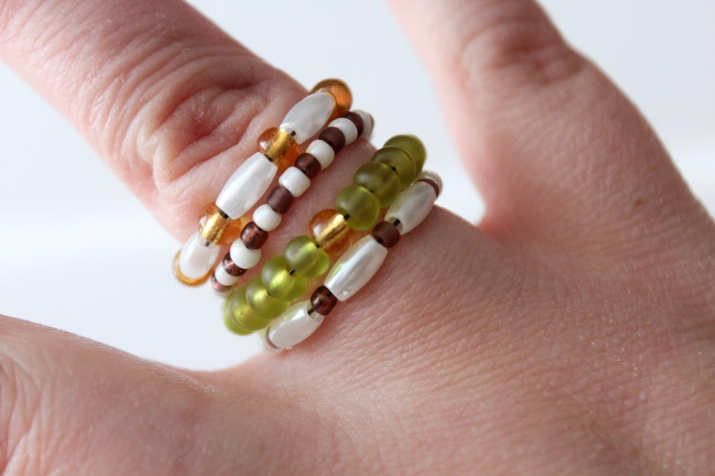 Rice Beads, Glass Seed Beads Green Gold Neutral Stackable Stretchy Beaded Rings Set of 4 White Purple