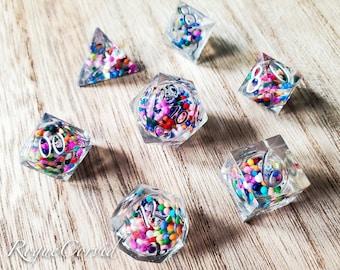 PRE-ORDER Rainbow Sprinkles - Handmade Liquid Core Seven Piece Dice Set
