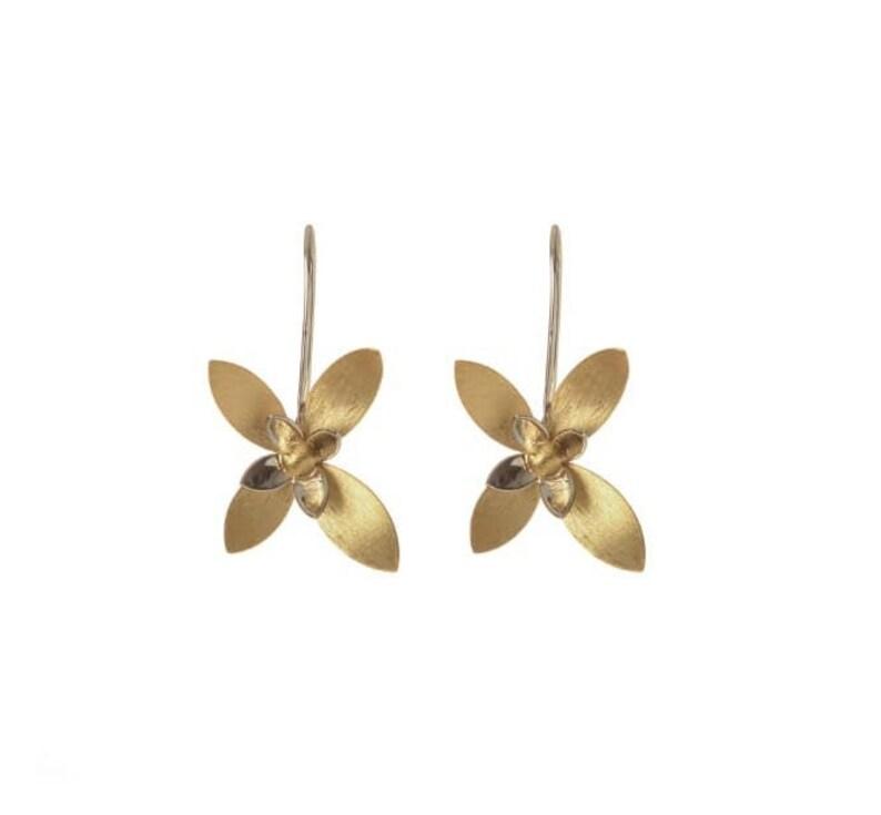 Daily Wear Cute Hoop Drop Down Flower Earrings 925 Sterling Silver Golden Earrings 18 k Gold Plated Silver Golden Flower Earrings For Her