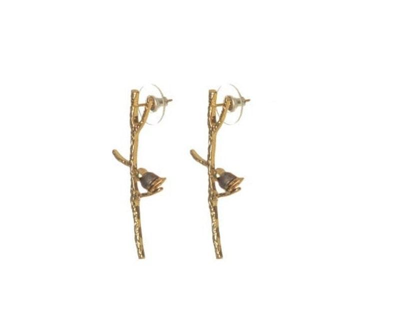 Daily Wear Cute Hoop Drop Down Tree And Bird Earrings 925 Sterling Silver Golden Earrings 18 k Gold Plated Silver Nature Earrings Studs