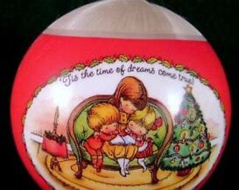 1981 Joan Walsh Anglund Hallmark Ornament White Satin Ball NO BOX