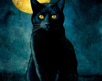 Black Cat Art Print, Nat Jones, 6 by 9 inch, moon cat, cat art, occult, witchcraft, pagan, gothic art, moon, black cats, cat picture, witch