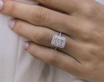 3.00 CT Radiant Cut Moissanite Engagement Ring, 14k White Gold Engagement Ring, Anniversary Ring, Wedding Ring, Promise Ring, Gift For Her