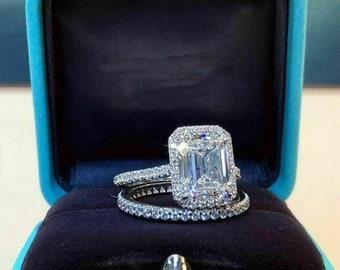 4.00 CT Emerald Cut Moissanite Halo Engagement Rings, Bridal Ring Set, Emerald Diamond Ring, 14k White Gold Ring Set,Anniversary Bridal Ring