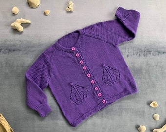 Hand Knitted Cotton Baby Girl New Violet Boat Cardigan 18-24 months