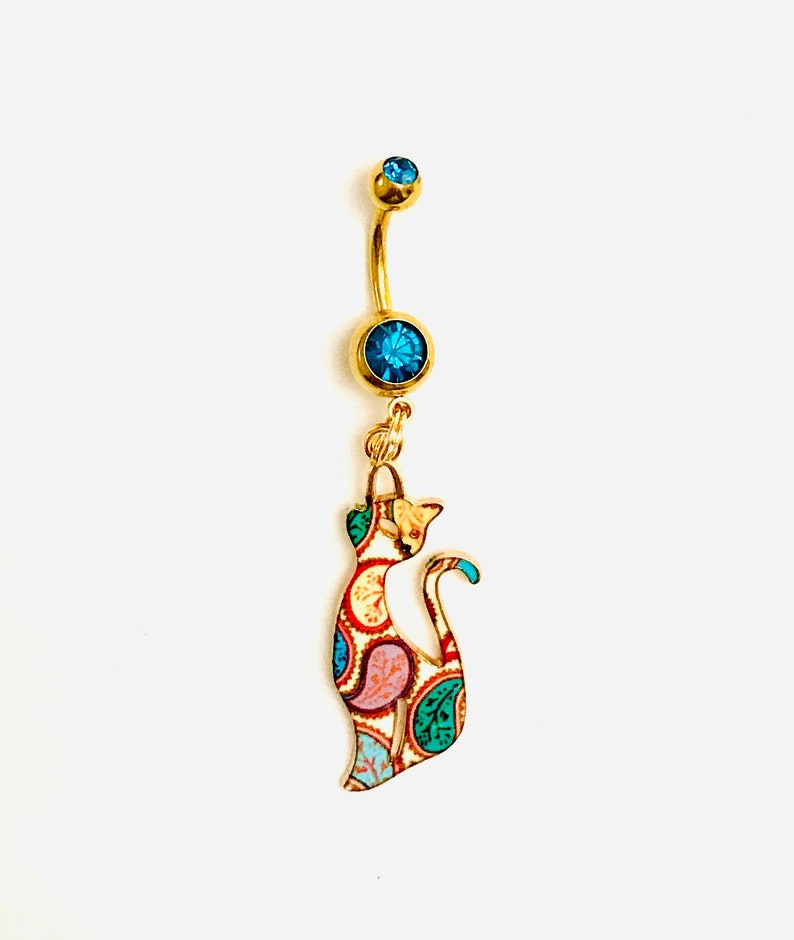 Turquoise Paisley Cat Belly Bar Navel Piercing Jewellery