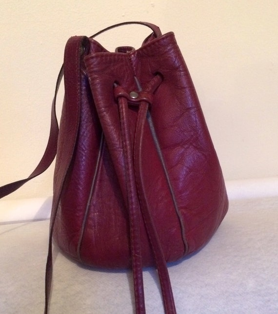 Small vintage burgundy bucket bag
