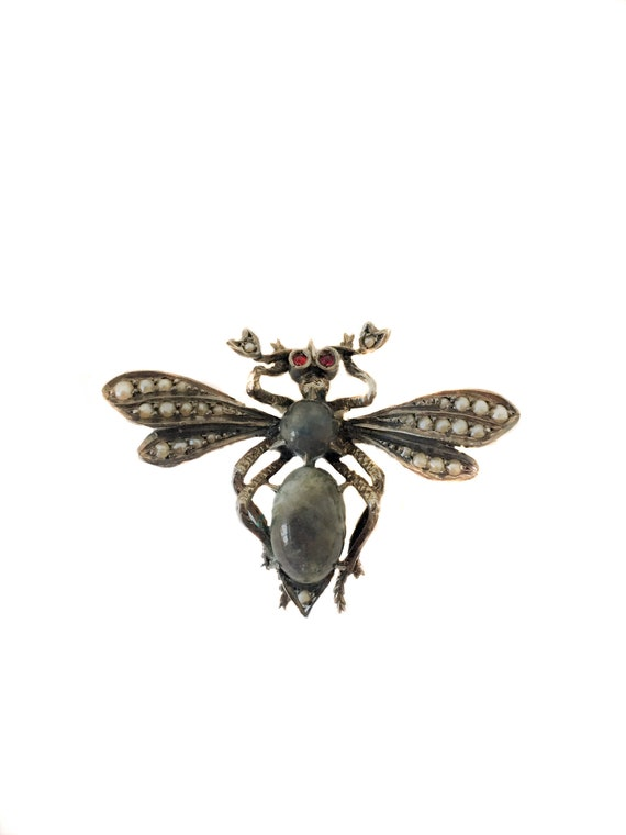 Victorian Pearl and Ruby Insect Brooch