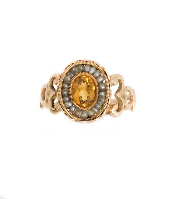 18th Century Citrine, Gold and Pearls Ring