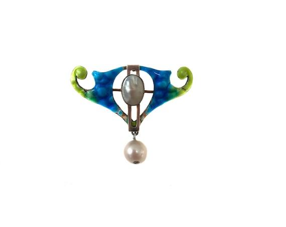 Vintage Art Nouveau Silver Blister Pearl Enamel Br