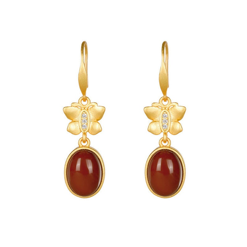 Natural White Jade  Red Agate 925 Sterling Silver Gold Plating Earring