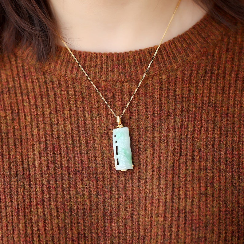 Natural Green Jade 925 Sterling silver gold plating pendant