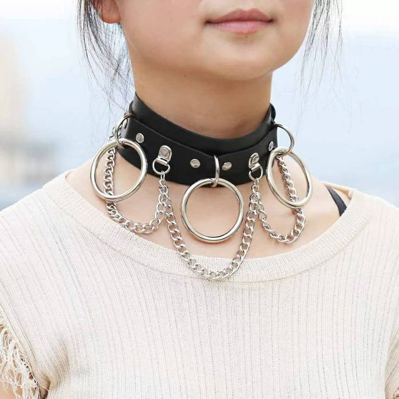 Women Girls Leather Choker Collar Necklace Vintage Gothic Punk Rock Rivet Necklace Gift for her Christmas gift