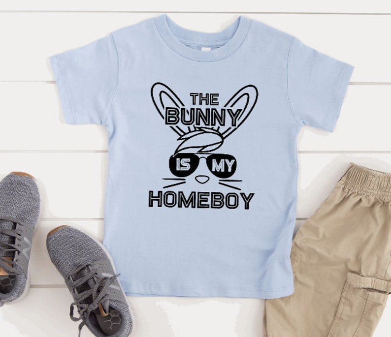 Boys Fashion Easter Gift Boys Tops and Tees Boys Easter Shirt /'The Bunny is my Homeboy/' T-Shirt