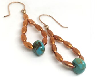 ceramic Turquoise and red glass and ceramic fleur de lis drop copper earrings boho earrings southwestern earrings bohemian earrings