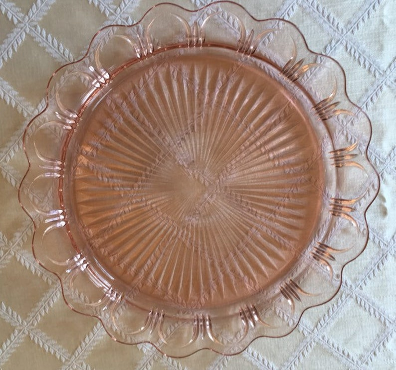 Hocking Old Colony Cake Plate Serving Platter Pink Depression Glass
