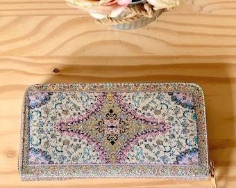 Zipper ladies wallet in purple , cross pattern inTurkish kilim fabric,Large wallet, Clutch Wallet , wallet organizer with inner coin pocket