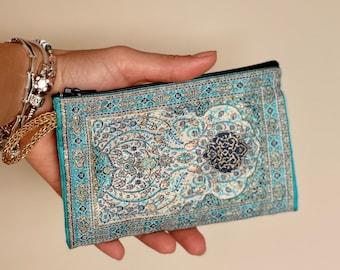 Slim Zipper Turkish coin purse , Small bag organizer ,  Turkish woven fabric , Small carpet bag , Ethnic bag , Handmade small coin pouch