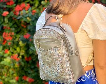 City Style Convertible Backpack In Gold,Crossbody Bag, Boho Backpack ,Laptop Bag, Rucksack Backpack, Vegan leather backpack, Hippie Hobo bag