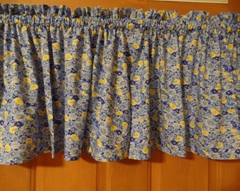 Cotton Blend Sleeve Topper Window Valance Blue Yellow Pink