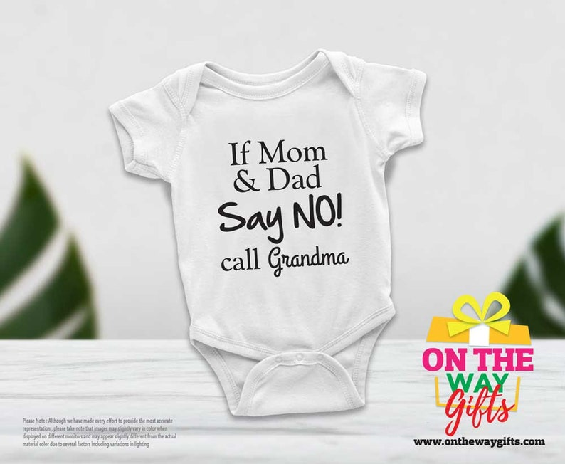 If mom and dad say no custom Baby Onesie\u00ae personalised bodysuit unisex baby clothes short sleeve long sleeve outfit Baby Gift Infant shirts