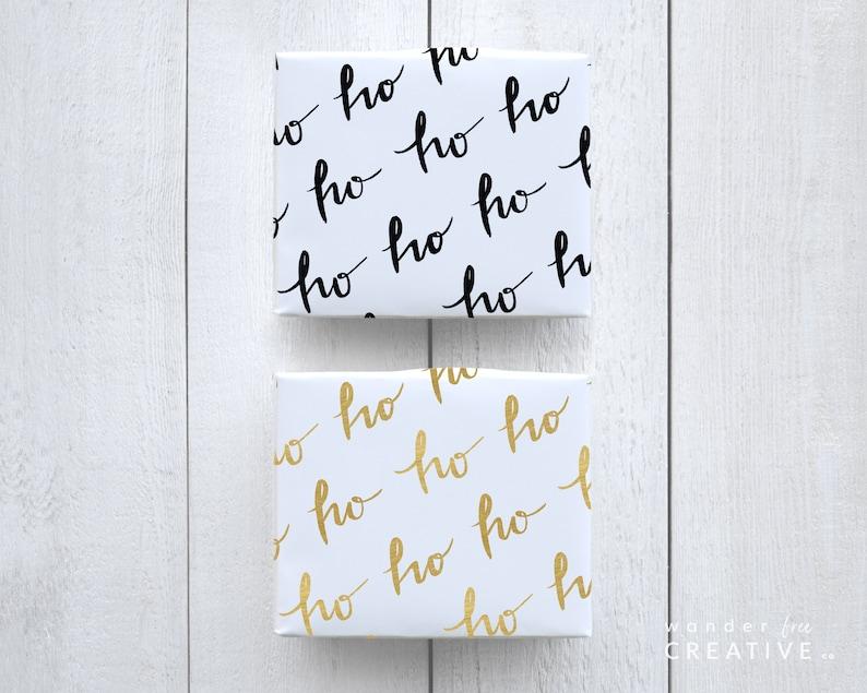 PRINTABLE Ho Ho Ho Black Script Gift Wrap Wrapping Paper Minimal Christmas Digital Download Holiday Eco-Friendly 8.5 x 11