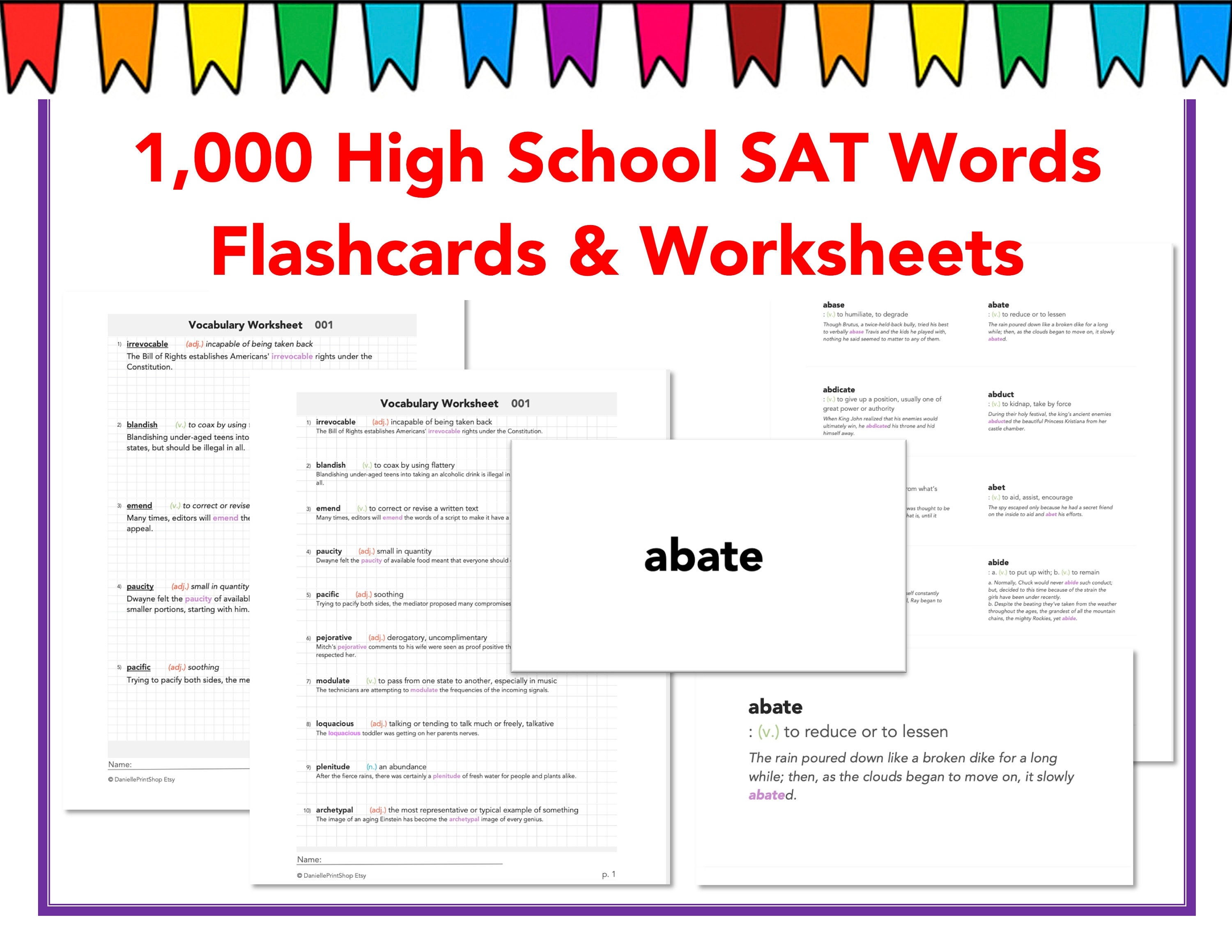 1000 High School SAT Vocabulary Words Worksheets and   Etsy