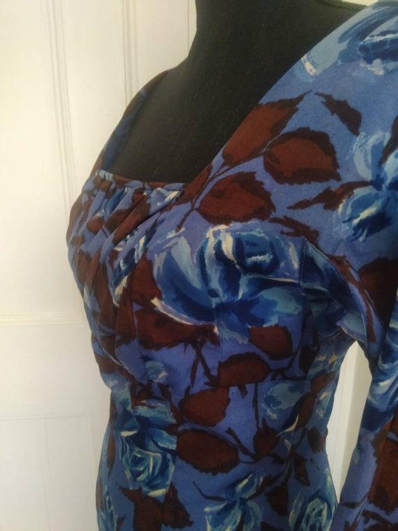Blue roses 1950's wiggle dress