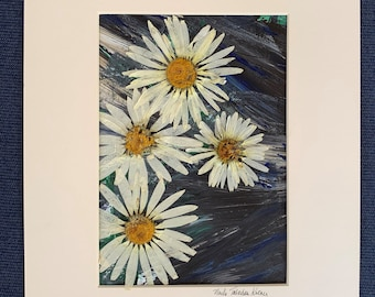 Botanical Art, Daisies on Acrylic, Real Pressed Flowers