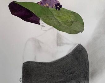 Framed Fashion Art, Real Pressed Flowers, Pencil Drawing, Hat Lady, Original Sketch Art