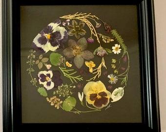 Framed Original Art, Pressed Flower Globe, Home Décor