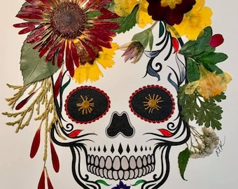 Sugar Skull Art, Real Pressed Flowers, Home Décor