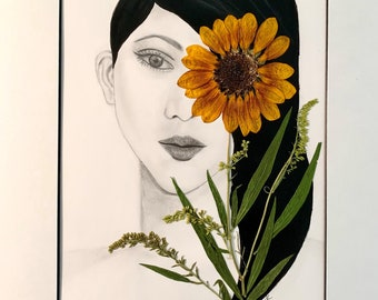 Original Drawing with Real Pressed Flowers, Pencil Art, Sunflower