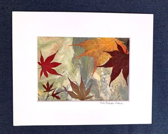 Botanical Art, Leaves on Acrylic, Real Pressed Foliage