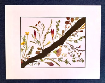 Original Art with Real Pressed Flowers, Wall Décor, Unique Gift