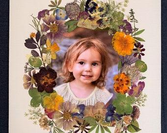 Custom Made Real Pressed Flower Photo Keepsake